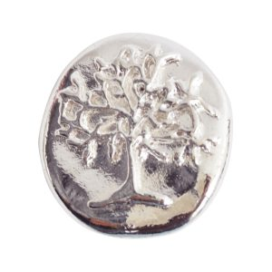 Button Organic Tree of Life Round SmallSterling Silver Plate