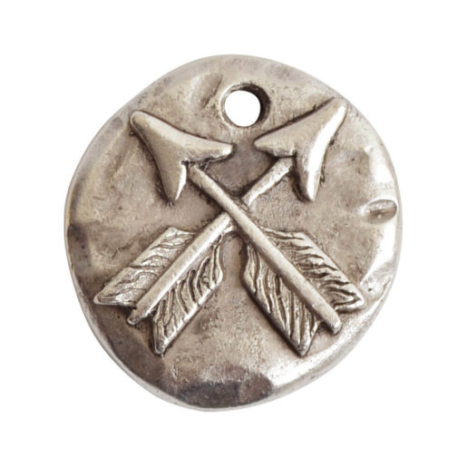 Charm Organic Crossed Arrows Round Small<br>Antique Silver 1
