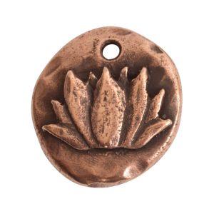 Charm Organic Lotus Round SmallAntique Copper