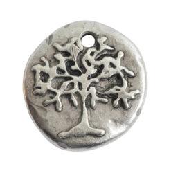 Charm Organic Tree of Life Round SmallAntique Silver