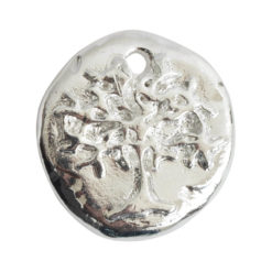 Charm Organic Tree of Life Round SmallSterling Silver Plate