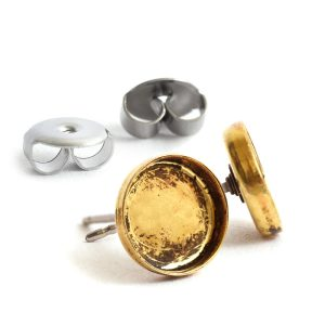 Earring Post 8mm Circle<br>Antique Gold