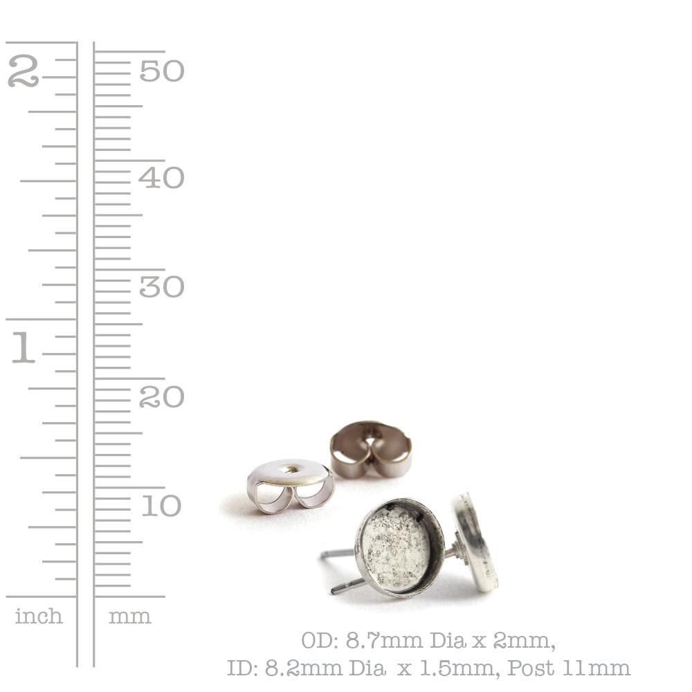 Earring Post 8mm CircleAntique Gold