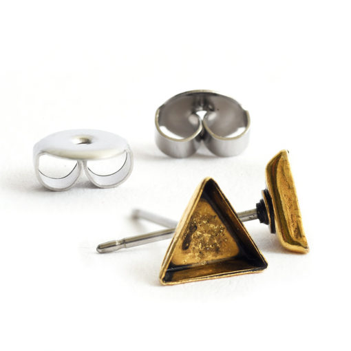 Earring Post Bitsy TriangleAntique Gold