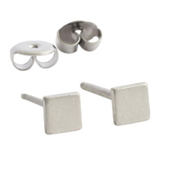 Earring Stud Sterling Silver 3mm Square