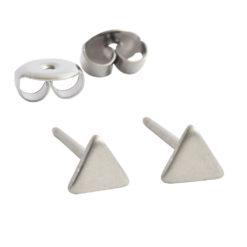 Earring Stud Sterling Silver 4mm Triangle