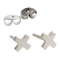 Earring Stud Sterling Silver 4mm X
