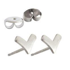 Earring Stud Sterling Silver 6mm Chevron