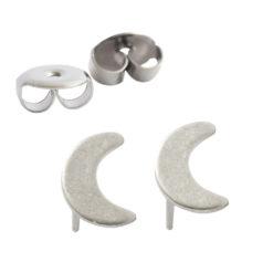 Earring Stud Sterling Silver 6mm Moon
