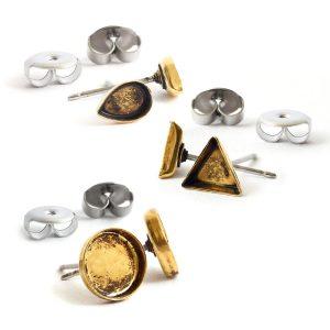 B&T Earring Post Bitsy ComboAntique Gold