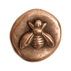 Button Organic Small Round BeeAntique Copper