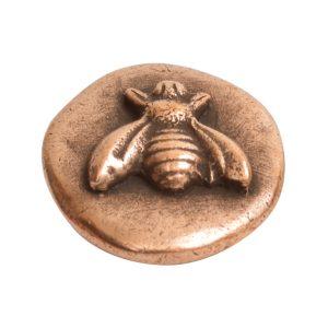 Button Organic Small Round Bee<br>Antique Copper