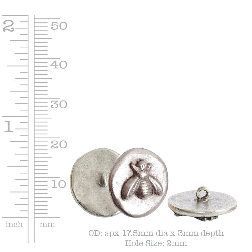 Button Organic Small Round BeeAntique Silver