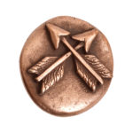 Button Organic Small Round Crossed ArrowsAntique Copper