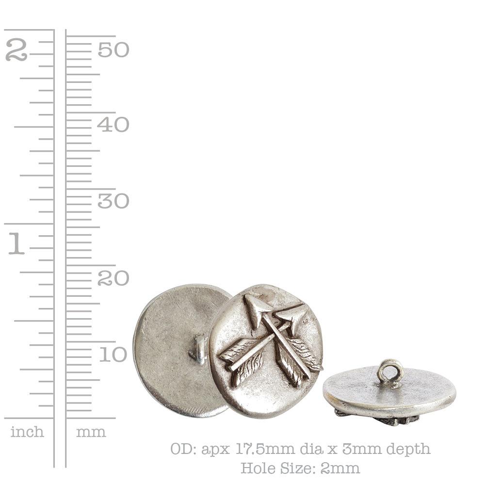 Button Organic Small Round Crossed ArrowsAntique Silver