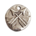 Charm Organic Small Round Crossed ArrowsAntique Silver