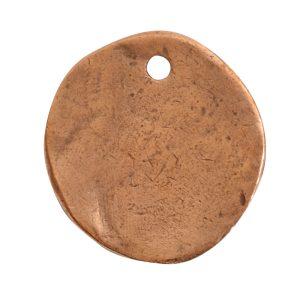 Charm Organic Small Round BeeAntique Copper