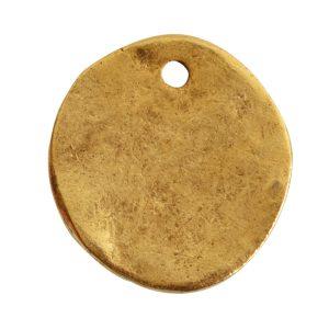 Charm Organic Small Round BeeAntique Gold