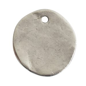 Charm Organic Small Round BeeAntique Silver