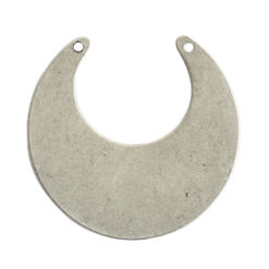 Flat Tag Grande Circle Eclipse Double HoleAntique Silver
