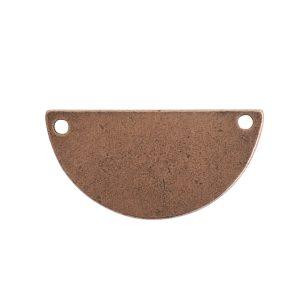 Flat Tag Grande Half Circle Double HoleAntique Copper