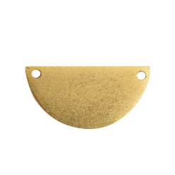 Flat Tag Grande Half Circle Double HoleAntique Gold