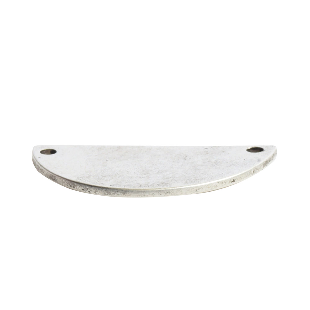 Flat Tag Grande Half Circle Double HoleAntique Silver