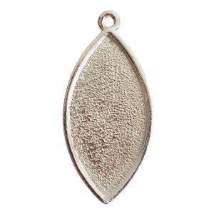 Grande Pendant Navette Single LoopSterling Silver Plate