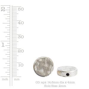 Metal Bead Organic Flat Small Circle<br>Antique Silver