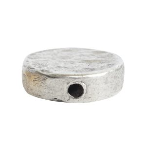 Metal Bead Organic Flat Small CircleAntique Silver