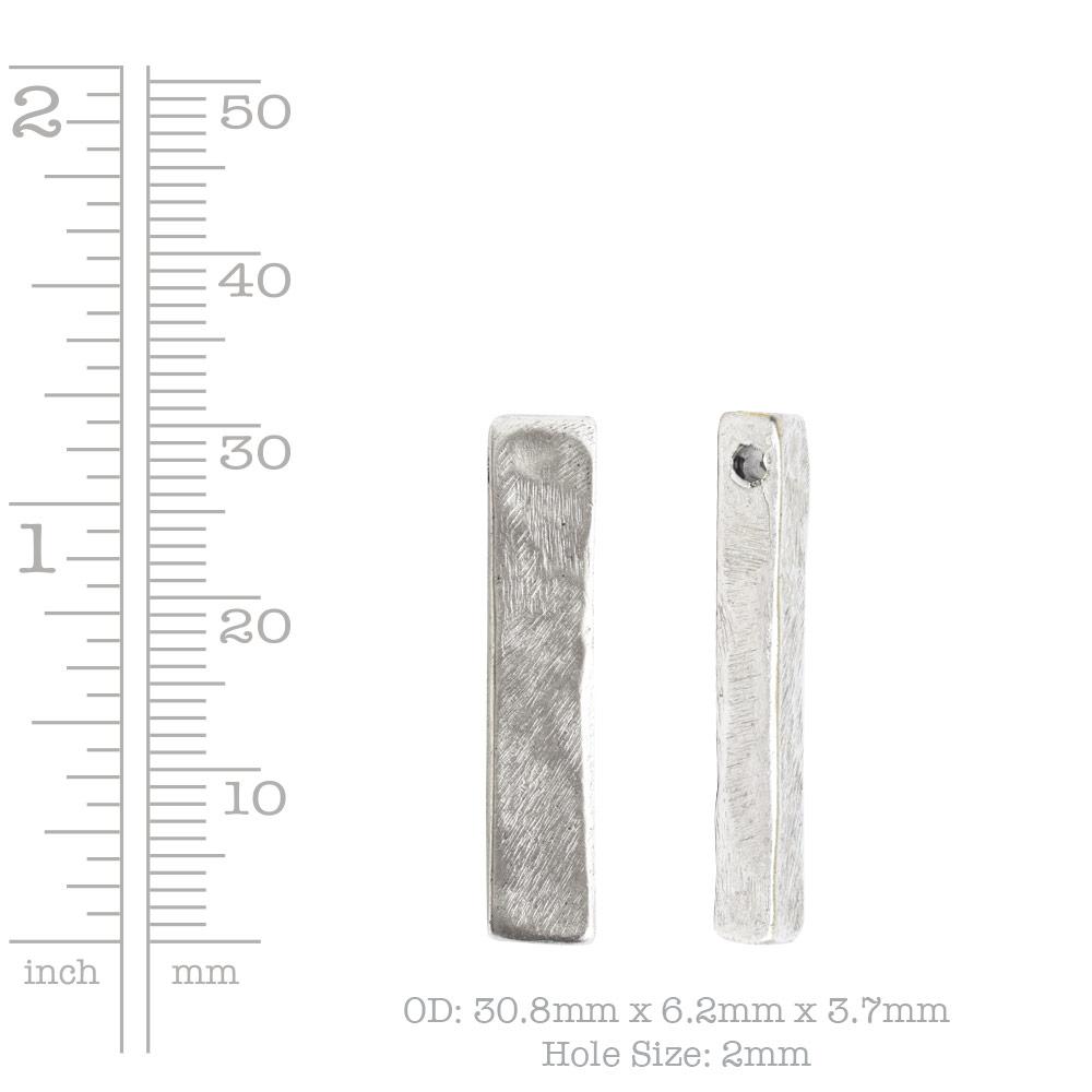Metal Bead Organic Flat Small RectAntique Silver