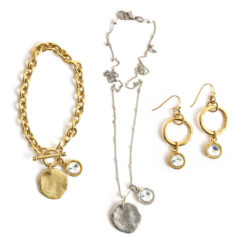 Kit Organic Tags & Hoops with Crystal Charms