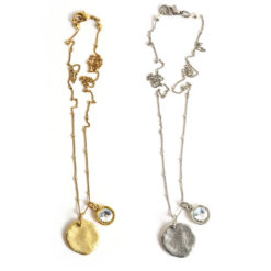 Kit Organic Tag with Crystal Charm Necklace