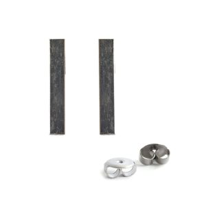 Earring Post Bar Small with Butterfly ClutchAntique Silver Nickel Free