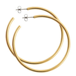 Earring Post Hoop Large with Butterfly ClutchAntique Gold Nickel Free