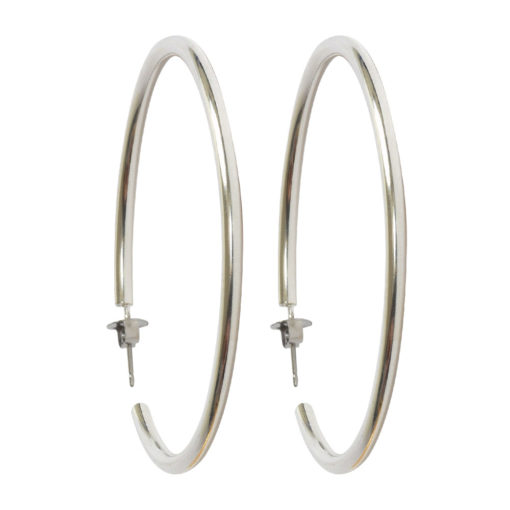 Earring Post Hoop Large with Butterfly ClutchAntique Silver Nickel Free
