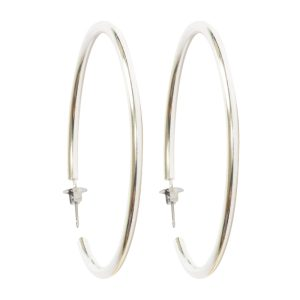 Earring Post Hoop Large with Butterfly ClutchSterling Silver Plate Nickel Free