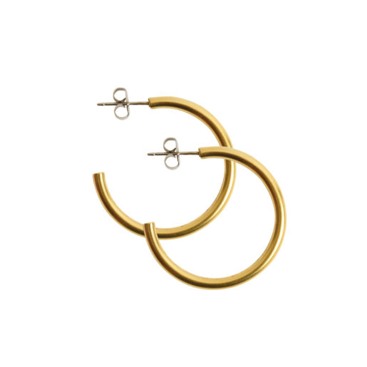 Earring Post Hoop Small with Butterfly Clutch<br>Antique Gold Nickel Free 1