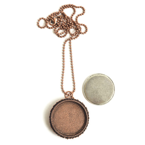 "Kit Necklace Grande Brooch Circle 32mmAntique Copper 24"" Necklace"