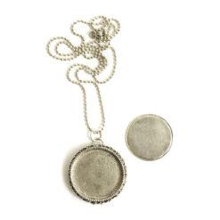 "Kit Necklace Grande Brooch Circle 32mmAntique Silver 24"" Necklace"