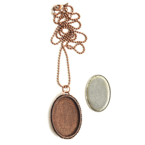 "Kit Necklace Grande Brooch Oval 26x39mmAntique Copper 24"" Necklace"