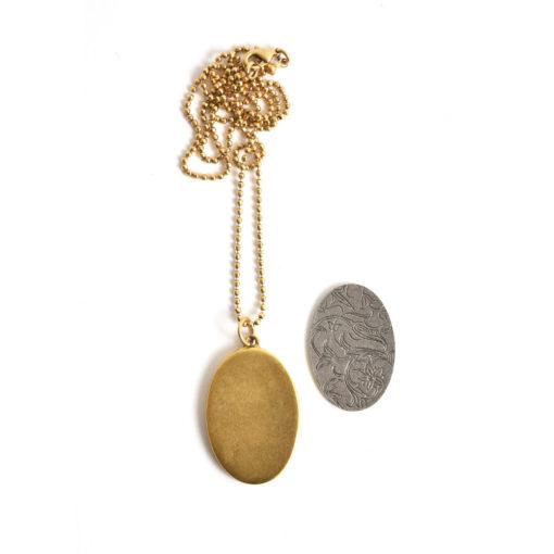"Kit Necklace Grande Oval 26x38mmAntique Gold 24"" Necklace"