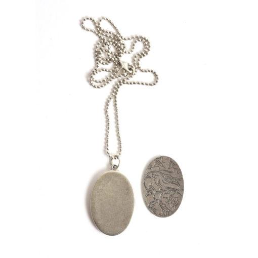 "Kit Necklace Grande Oval 26x38mmAntique Silver 24"" Necklace"