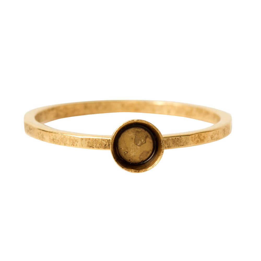 Ring Hammered Thin Bitsy Circle Size 7Antique Gold