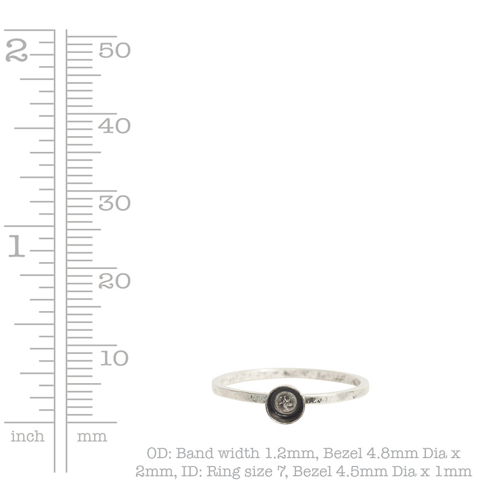 Ring Hammered Thin Bitsy Circle Size 7Antique Silver
