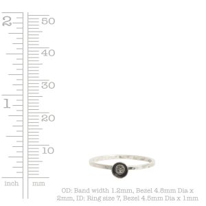Ring Hammered Thin Bitsy Circle Size 7<br>Sterling Silver Plate