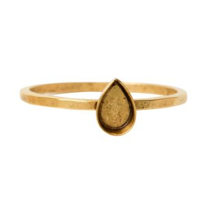 Ring Hammered Thin Bitsy Drop Size 7Antique Gold