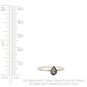 Ring Hammered Thin Bitsy Drop Size 7<br>Sterling Silver Plate
