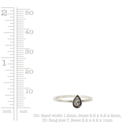 Ring Hammered Thin Bitsy Drop Size 7Sterling Silver Plate