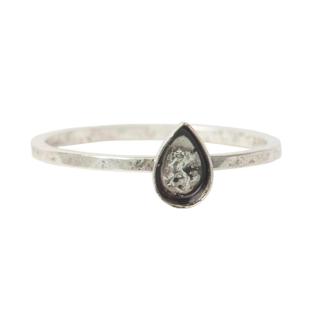 Ring Hammered Thin Bitsy Drop Size 7Antique Silver